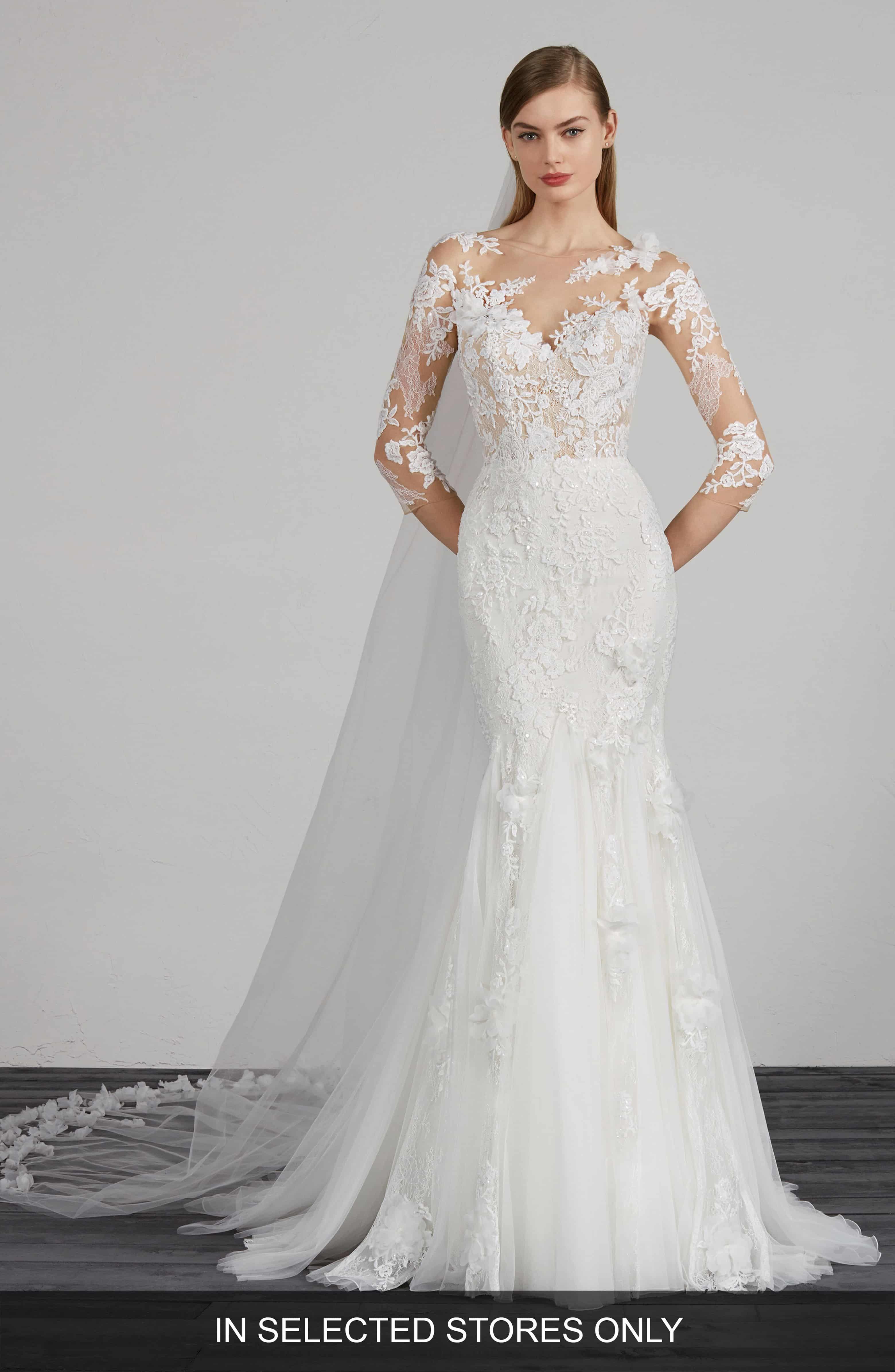 Pronovias Maden Lace Applique Mermaid Wedding Dress Nordstrom Wedding Dress Couture Wedding Dress Long Sleeve Wedding Dresses Romantic