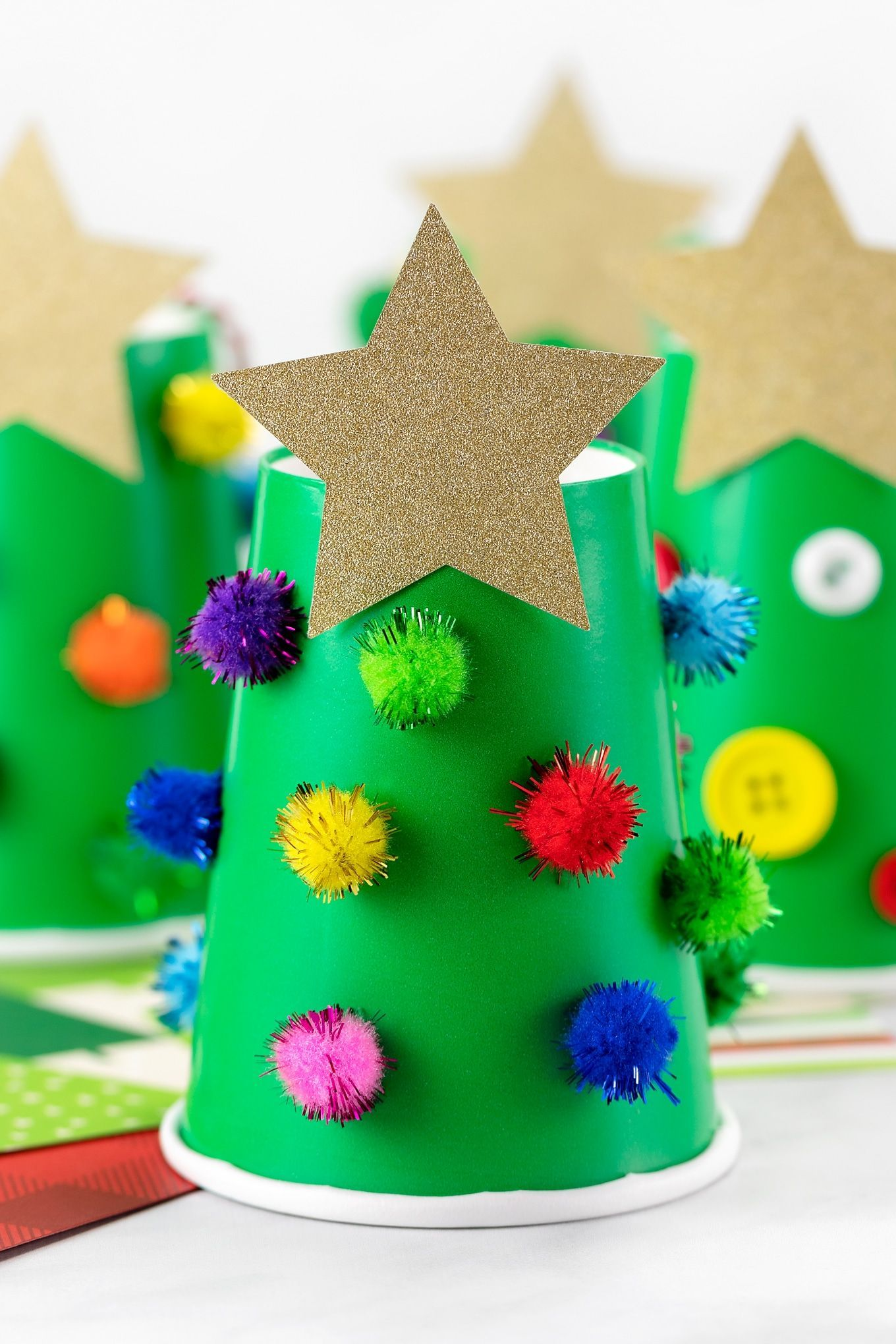 Paper Cup Christmas Tree crafts in 2020 Christmas