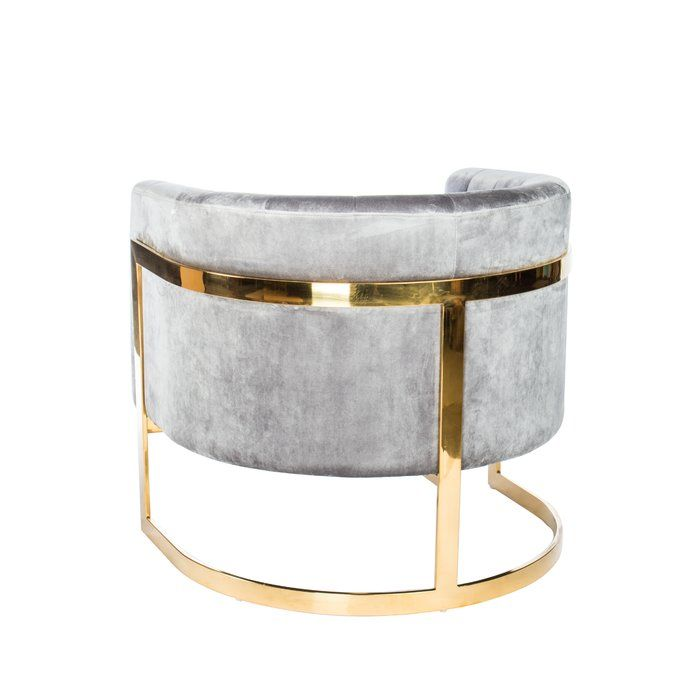 Northam Barrel Chair is part of Barrel chair - This Chair, upholstered in gray velvet and accented by a vibrant gold metal base, is ideal for modern living spaces  The unique glossy gold base combined with a vibrant linen fabric will make it the center of attention in any contemporary space
