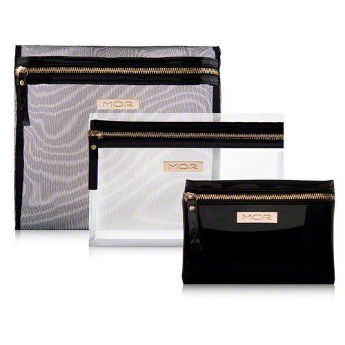 3 Piece Zip Top Cosmetic Bags Logo Engraved Hardware Zipper Closure Medium Clear Makeup Bag Large Mesh Small Lacquered Vinyl Black