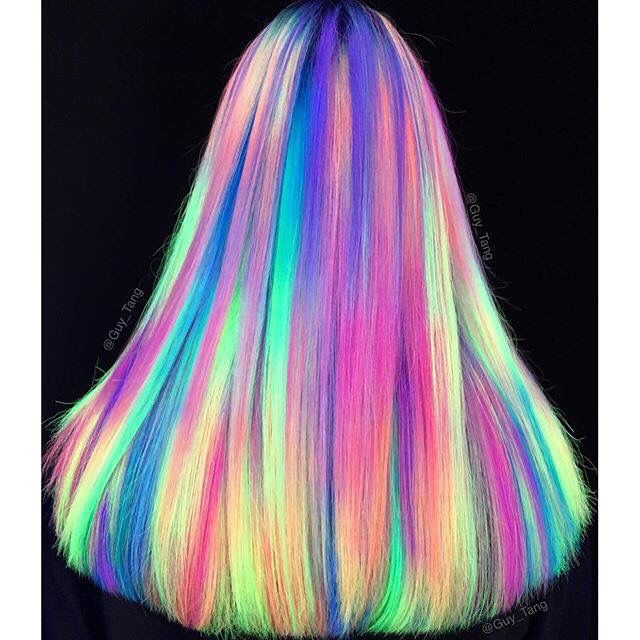 Opal Hair Under Black Light Neon Hair Color Neon Hair Hair Styles