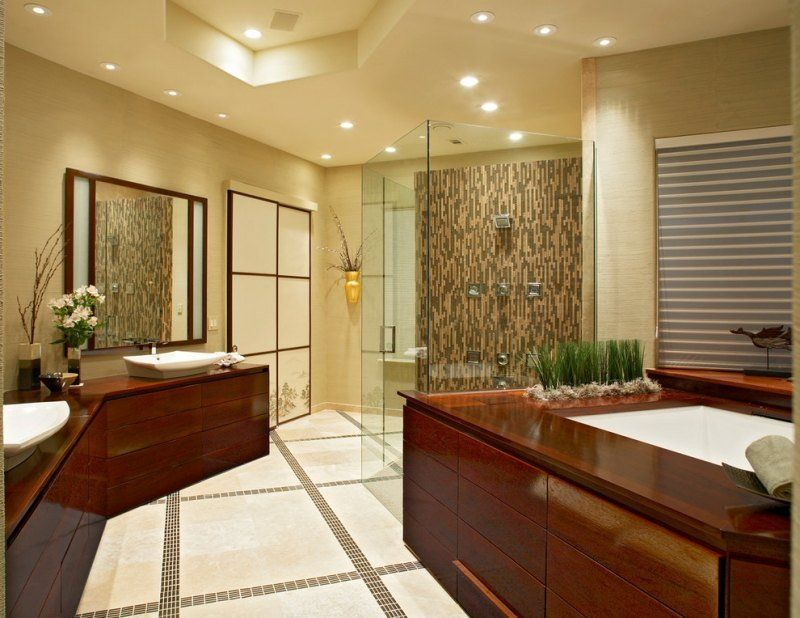 Déco salle de bain zen u2013 42 astuces pour ambiance Feng Shui - faux plafond salle de bain