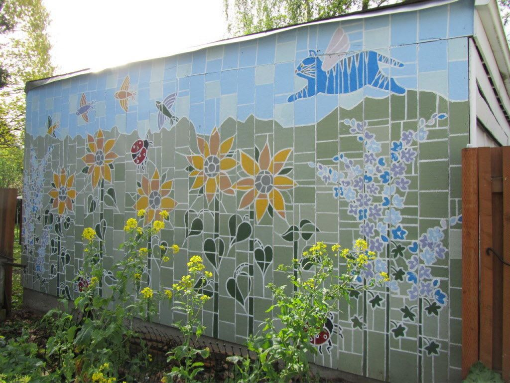 Outdoor Murals Dress Up Sheds Garages And Blank Walls Plus Seven Tips Or Creating Your Own In 2020 Garden Mural Fence Art Mural