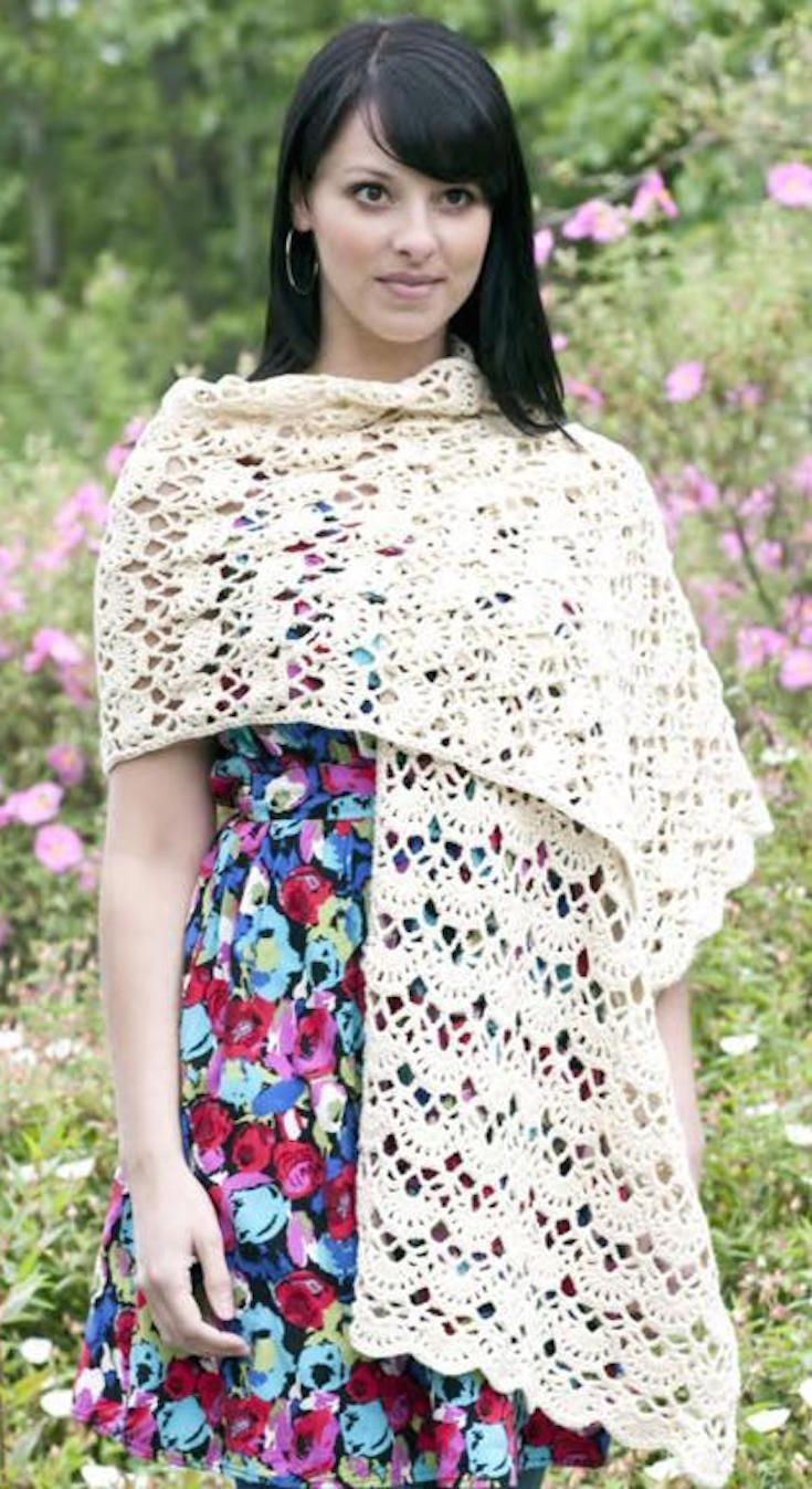 LACEY ARCHES STOLE crochet pattern - light cover up for warmer ...