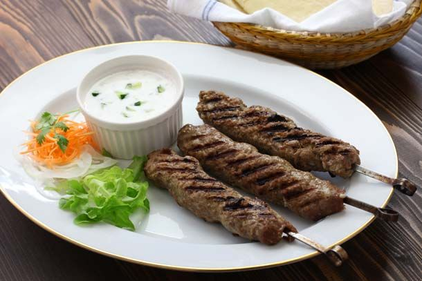 Beef Skewer Kebab with Veggie Yogurt