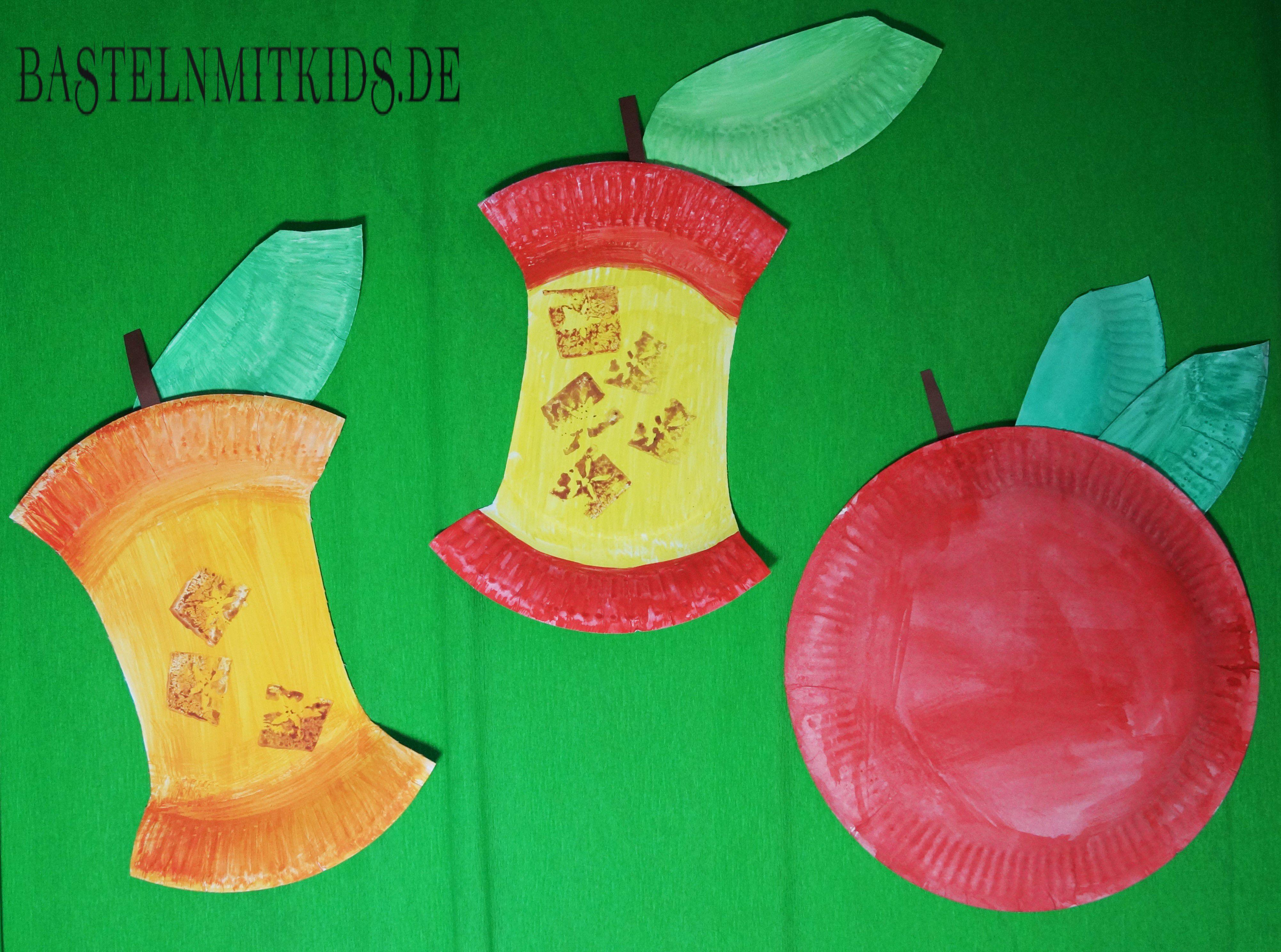 Apfel Basteln Mit Papierteller Und Apfelkerngehause Basteln Mit