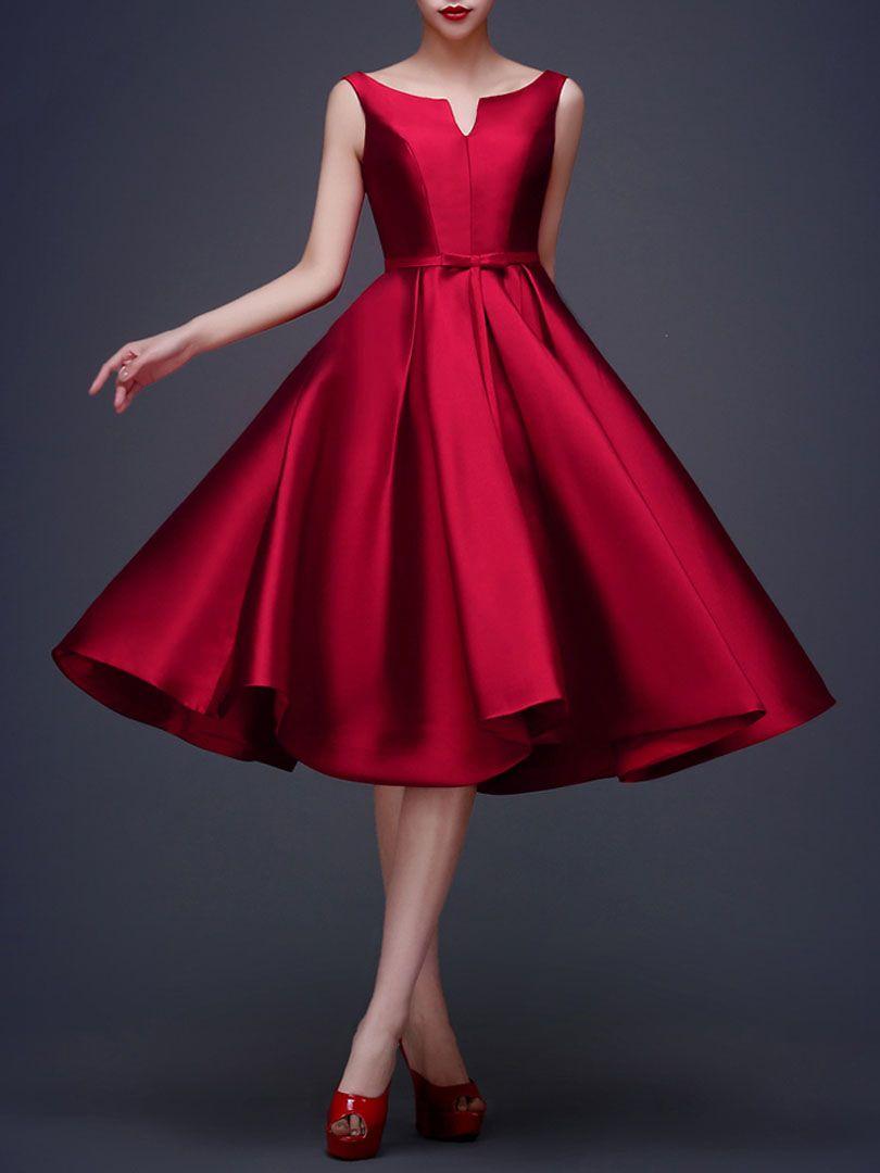 Wine red bowknot waist lacing back sleeveless midi prom dress para