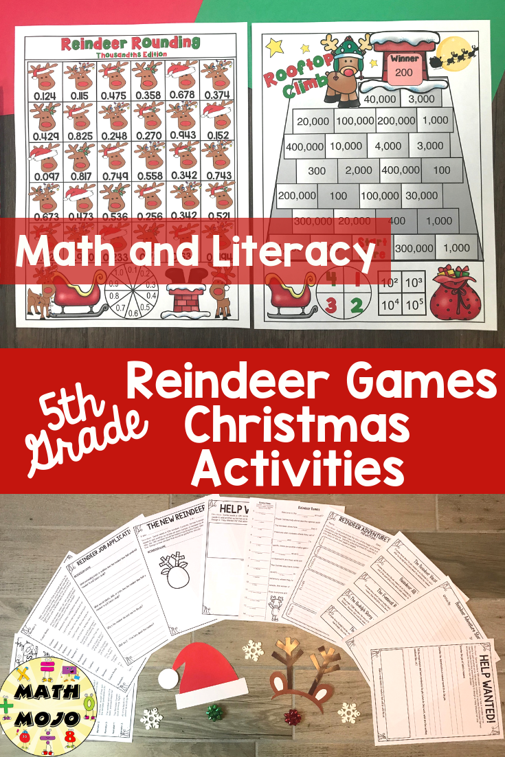 5th Grade Christmas Activities 5th Grade Reindeer Games Literacy