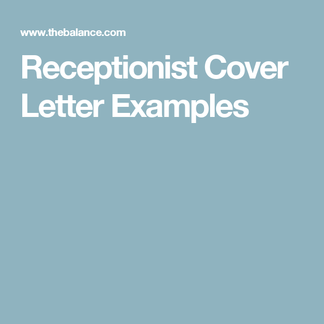 Receptionist Cover Letter Examples  Cover Letter Example Letter