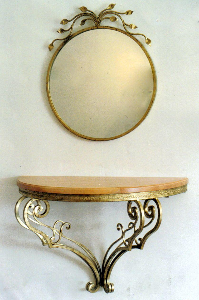 Consolle In Ferro Battuto Con Specchio.Consolle Con Specchio In Ferro Battuto Mirror Table Mirror Entryway