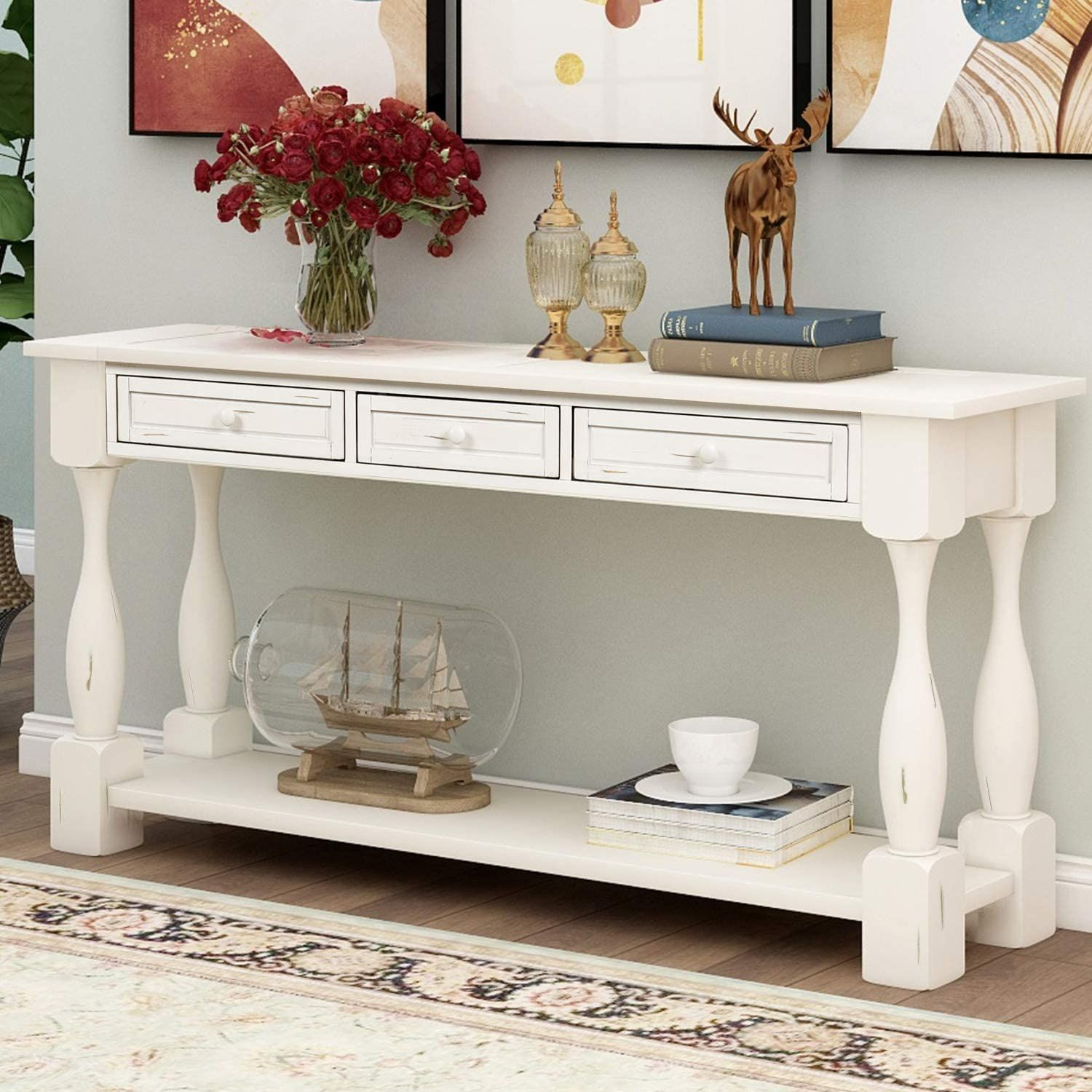 Distressed White Console Table W Storage Drawers In 2021 White Console Table Sofa Table With Storage Wood Sofa Table