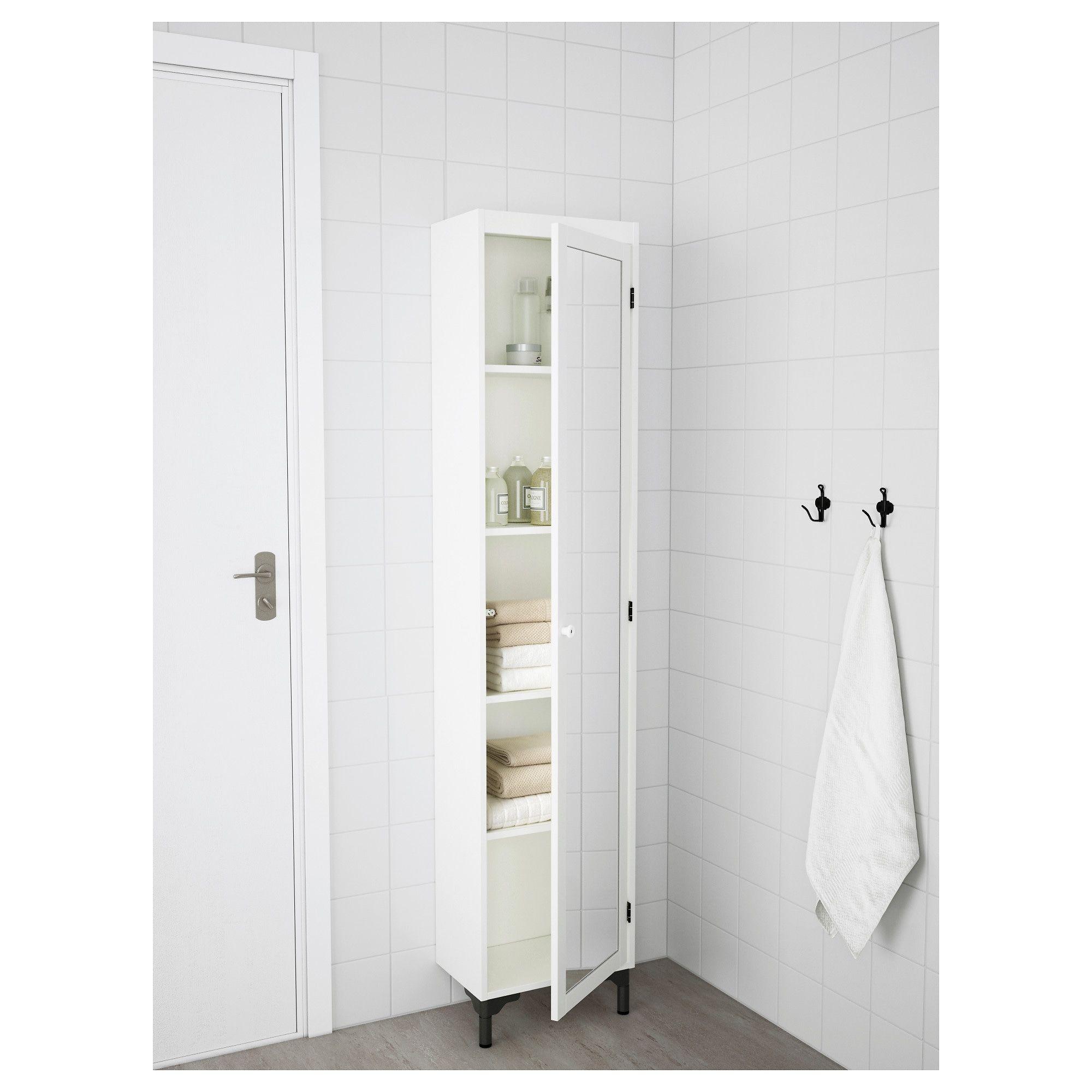Silveran Colonne Avec Porte Miroir Blanc 40x25x172 Cm Ikea Meuble Rangement Salle De Bain Lingere Porte Miroir