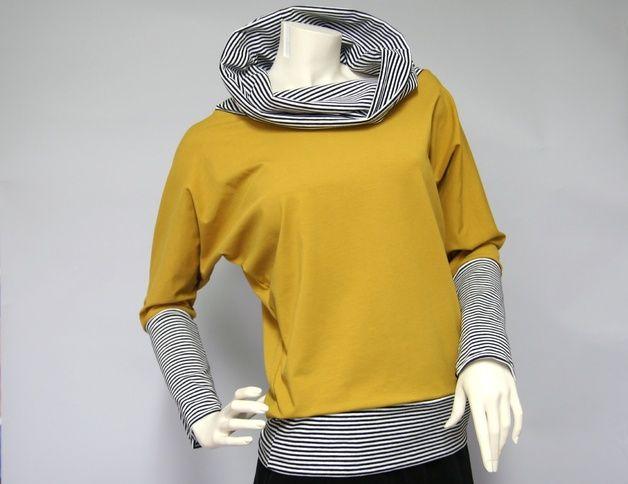 Fledermausärmelshirts - Fledermausshirt curry/Streifen - ein Designerstück von gutjahr bei DaWanda