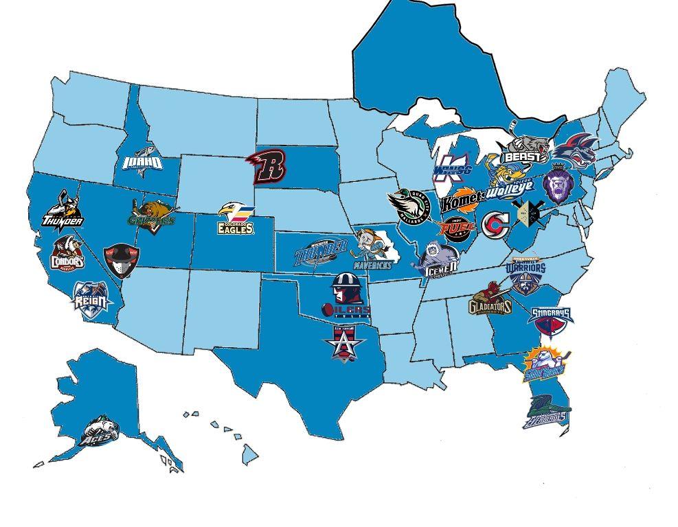 Premier Aa Hockey League 2014 15 Echl Team Map Hockey Teams League