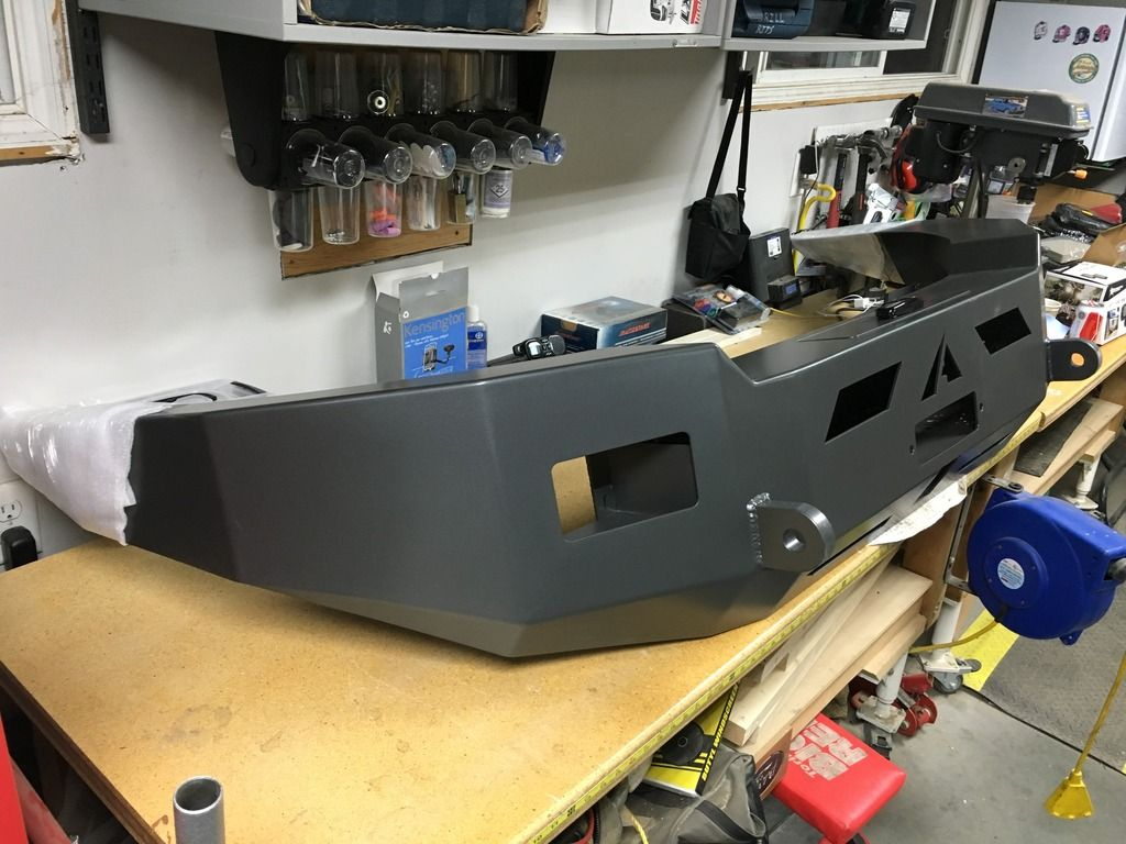 Customer photo of ford transit aluminess bumper ready to install custom color powdercoat to match