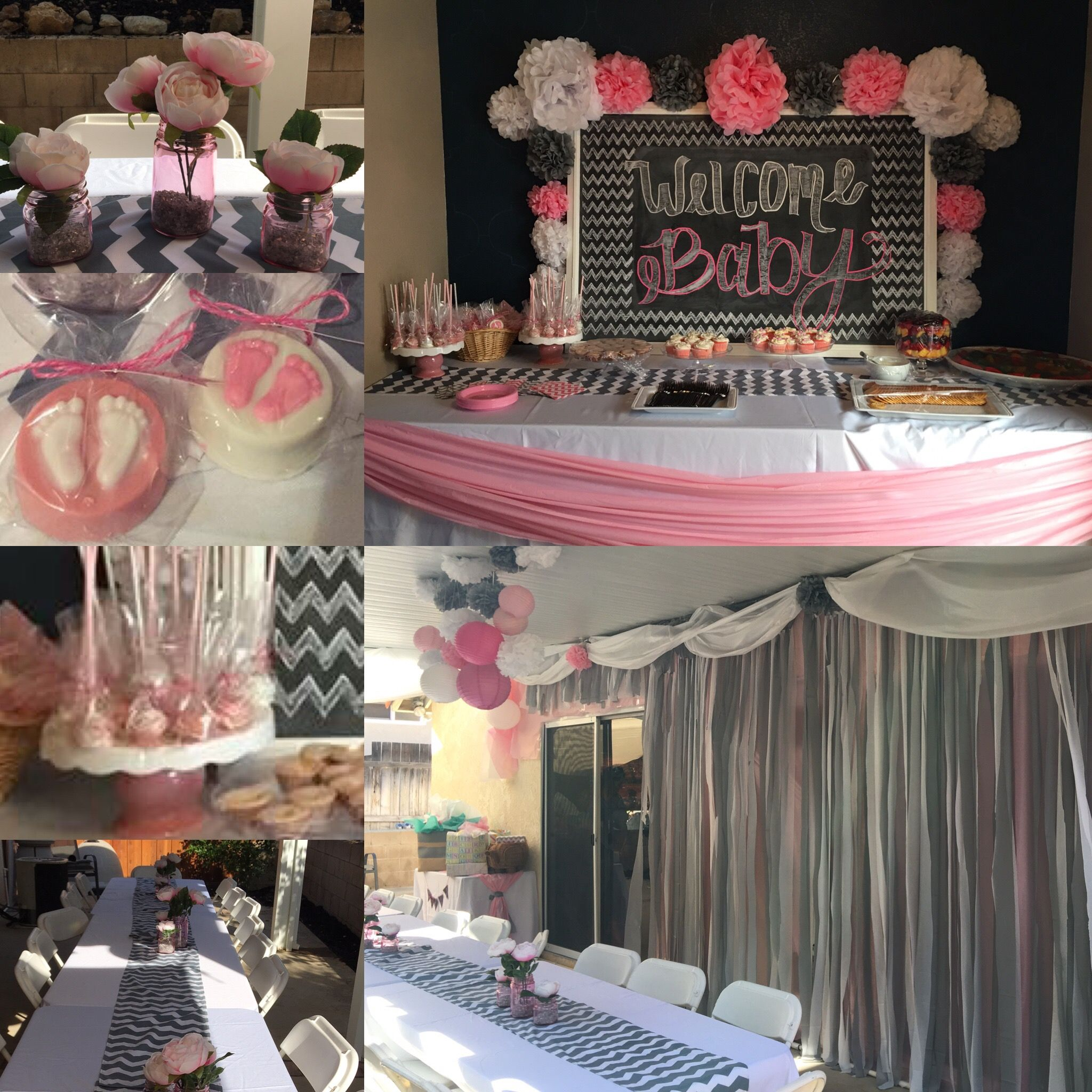 Baby shower decorations Grey chevron , pink and white ...