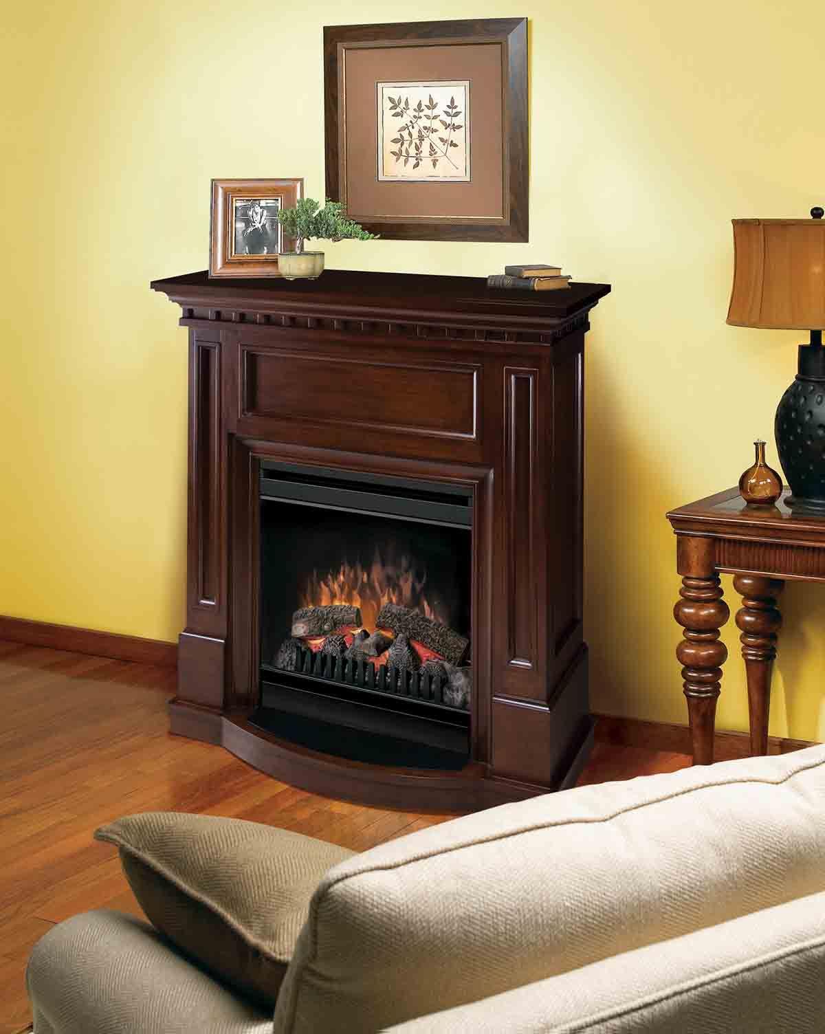 Chimenea el ctrica en madera color tabaco decoracion - Chimenea de mesa ...