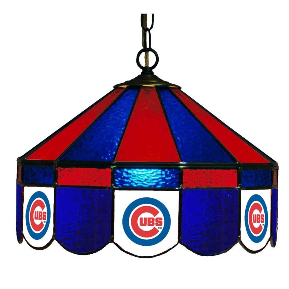 Chicago Cubs Mlb 16 Inch Billiards Stained Glass Lamp
