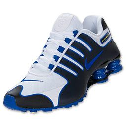 Men\u0027s Nike Shox NZ Fuze Running Shoes | FinishLine.com | White/Hyper Blue