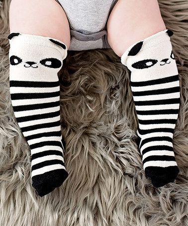 Look what I found on #zulily! Black & White Panda Stripe Socks #zulilyfinds