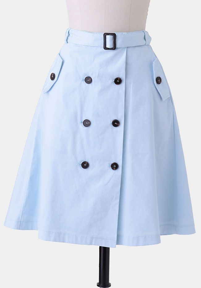 London Calling Button-Up Skirt In Light Blue  at #Ruche @Ruche