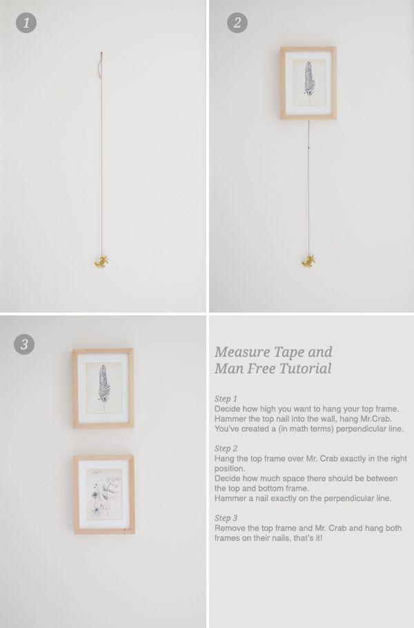 cómo colgar marcos en línea vertical | Ideazas | Pinterest | En ...