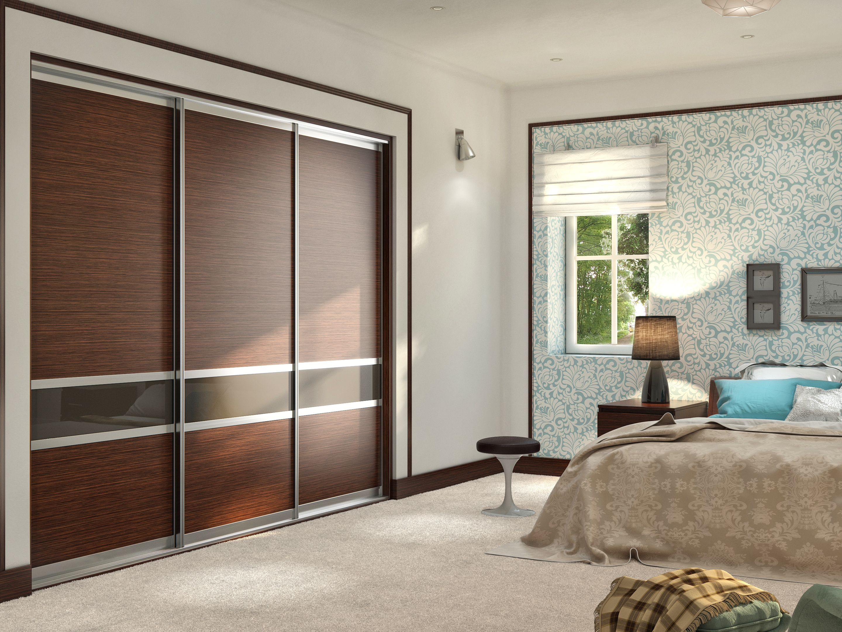 Best Wenge Glass Sliding Doors In Master Bedroom Modern 400 x 300