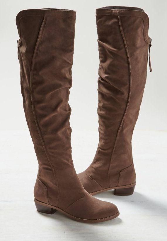 4c135be9339 Brown AEO Knee High Back Zip Boot