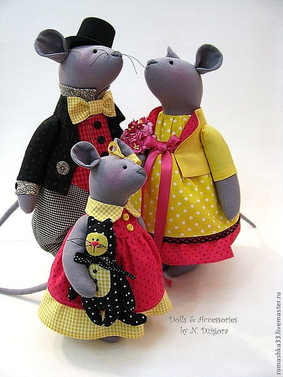 Купить Счастливое семейство - мыши, игрушка мышь, мышка, мышки, текстильные мыши, семейство мышек