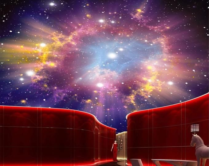 3D Star Nebula Night Sky Large Suspended Ceiling Painted