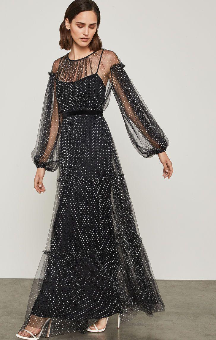 Flocked dot mesh dress bcbg bcbg date outfits