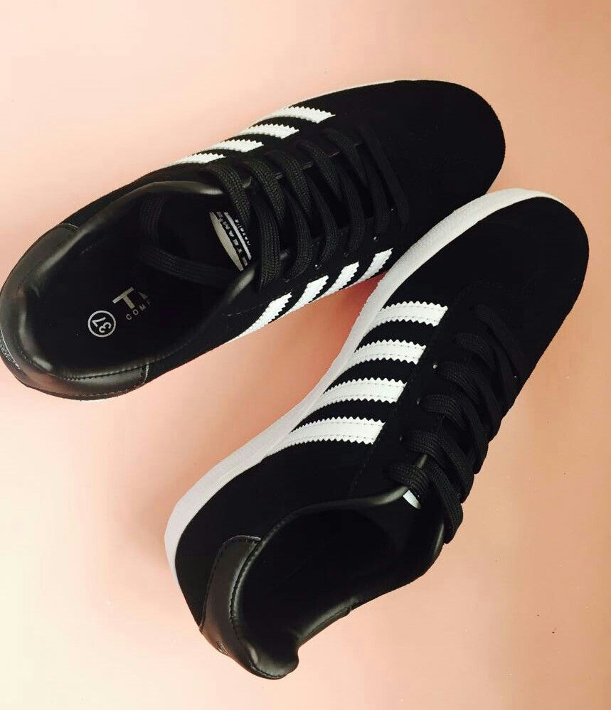 Trendy Black And White Gazelle Adidas Shoes For Teenage