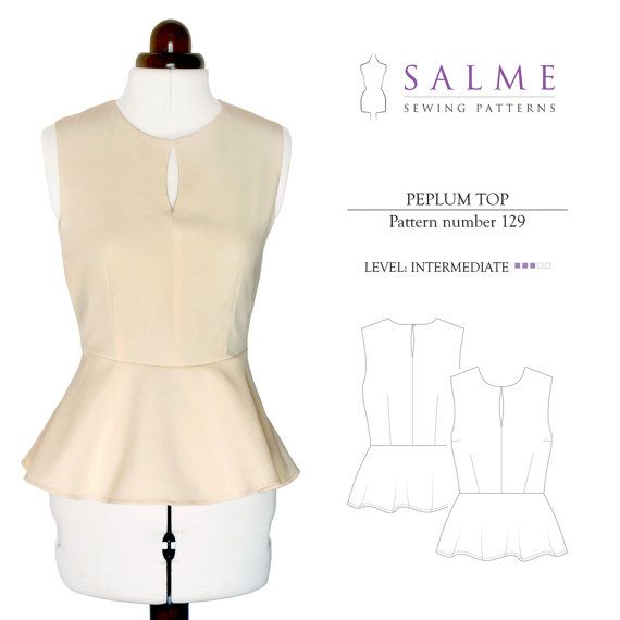 PDF Sewing pattern - Peplum top   Couture   Pinterest   Costura ...