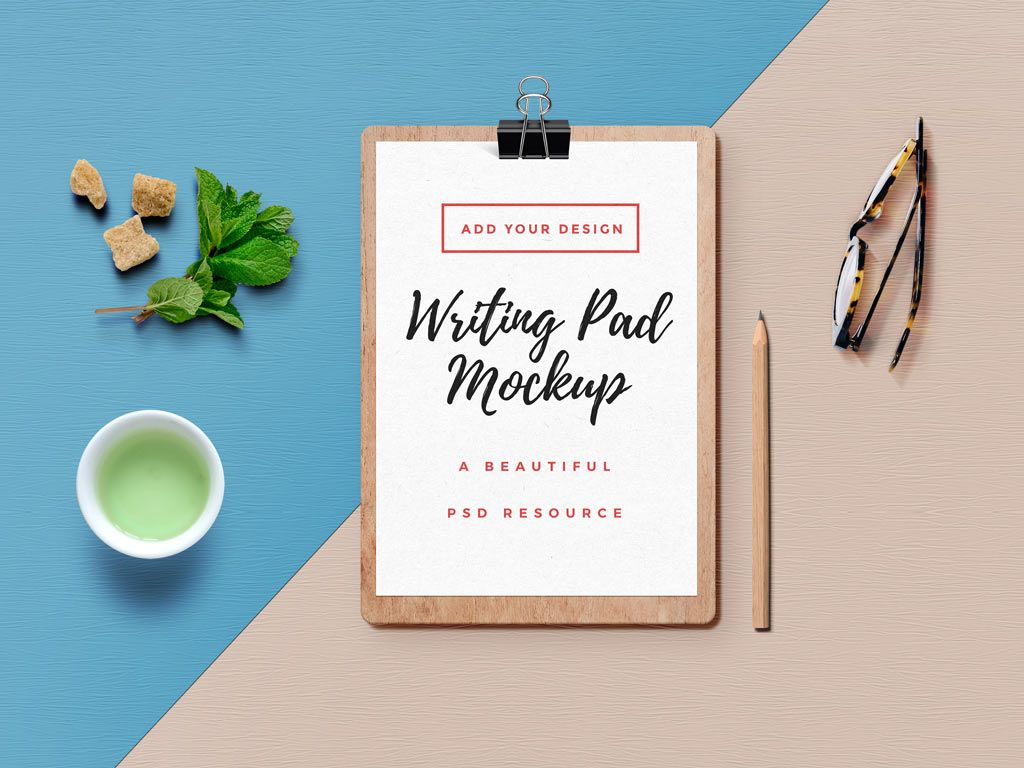Wooden Writing Pad Mockup