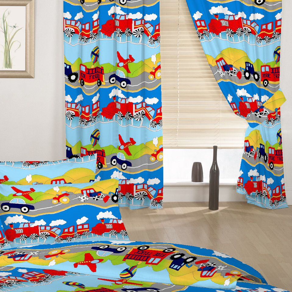 Childrens Bedroom Curtains Transport Emergency Vehicles Boys 66 By