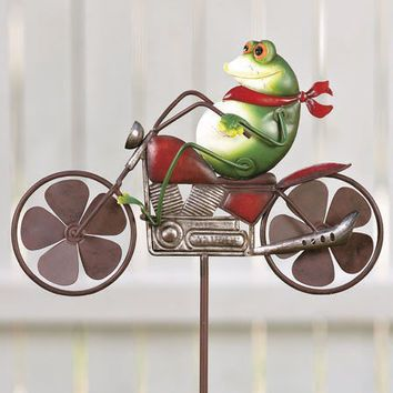 Whimsicle Frog Biker Motorcycle Riding Wind Spinner Garden Stake Yard Lawn Decor