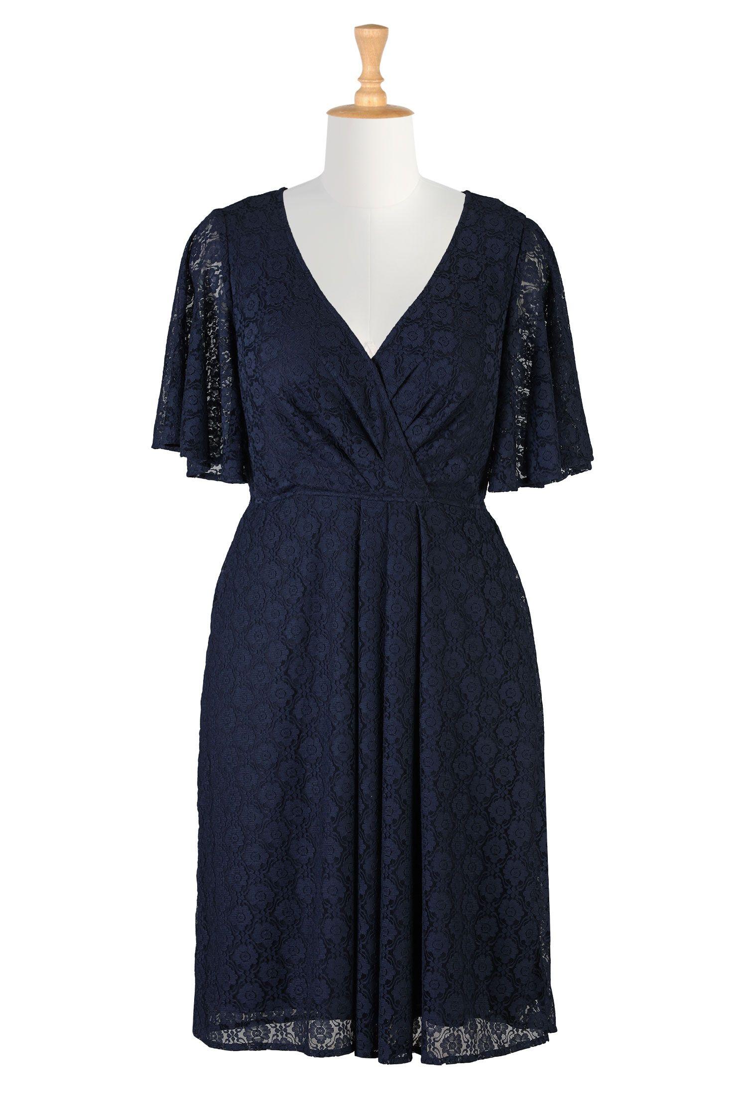 Blue Bridesmaids Dresses, Floral Lace Surplice Dresses Shop womens designer clothes - Shirtdresses - Shop for shirtdresses | eShakti.com