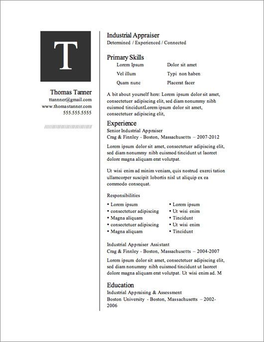 12 Resume Templates for Microsoft Word Free Download l Pinterest