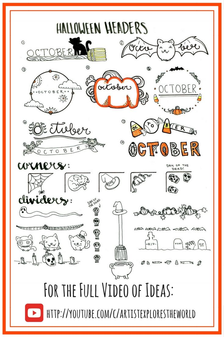 halloween themed bullet journal ideas. monthly headers, october