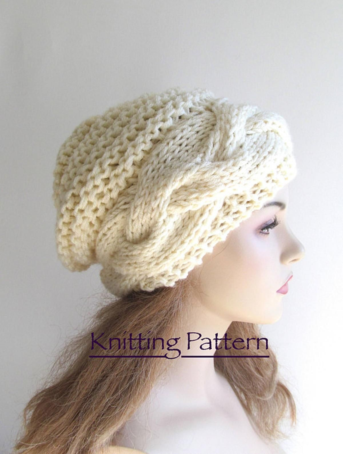 Braided Cable Slouchy Beanie Hat Knitting Pattern | Gorros ...