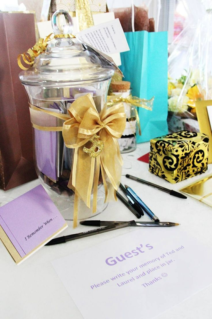 Memory Jar... I did this for my parents golden wedding