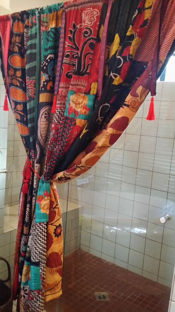 Boho Shower Curtain Divider Vtg Patchwork Kantha Sari Trim Tassel