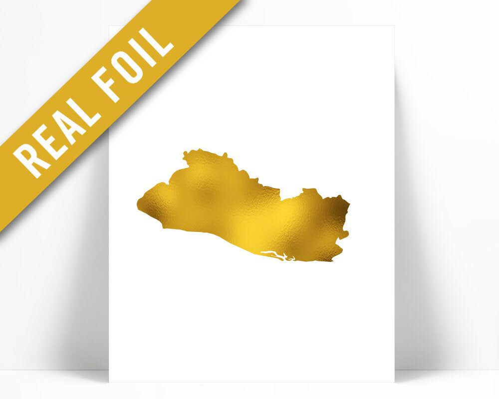 El Salvador Map - Gold Foil Print - El Salvador Art Print - Gold Foil Map - Geography Travel Poster - El Salvador Wall Art - Country Map