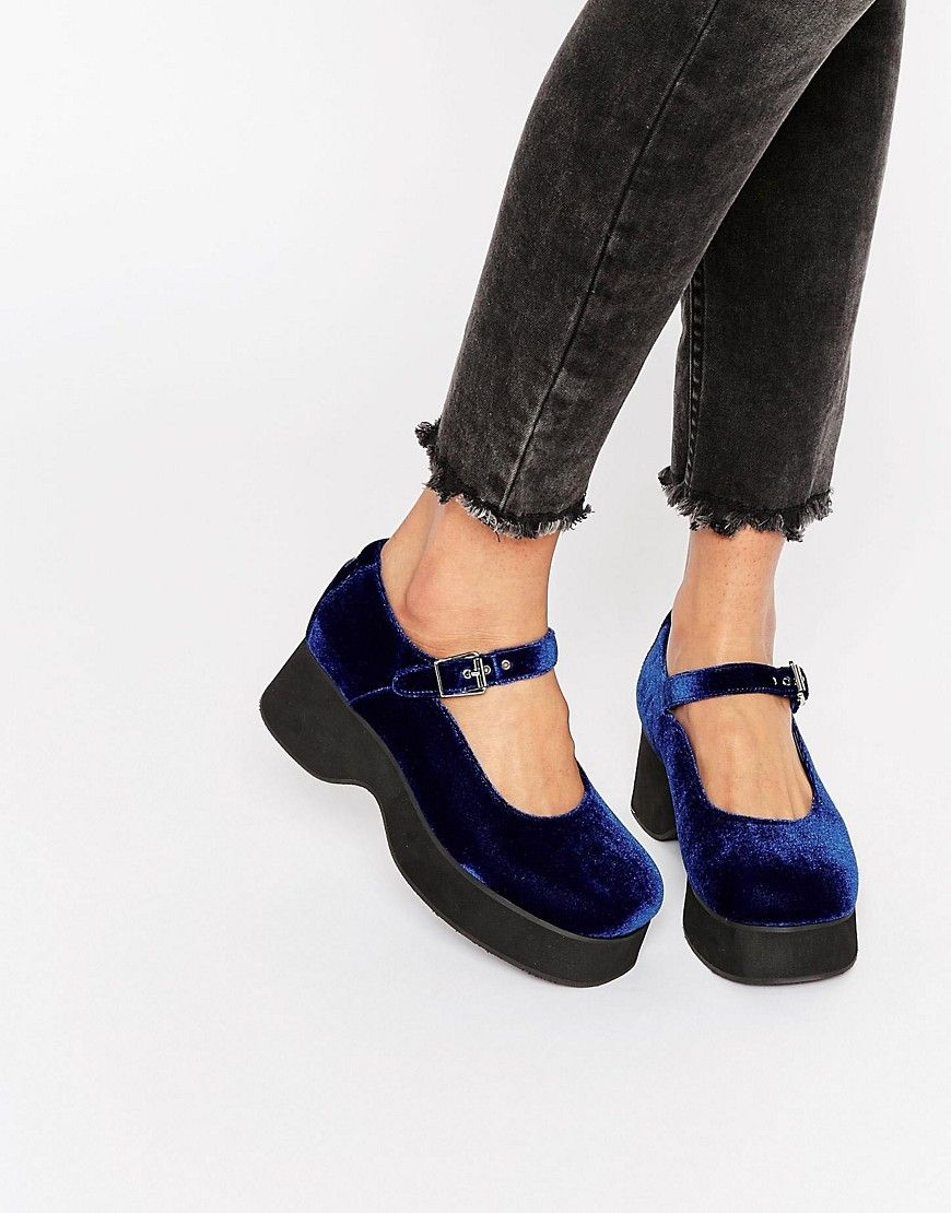 8f11d066f880 Image 1 of UNIF The Spoilers Blue Velvet Mary Jane Shoes