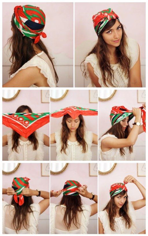How To Tie A Turban With A Square Scarf Diy Tag Hair Scarf Styles Hair Wrap Scarf Tie A Turban