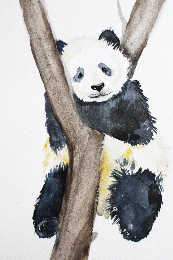 Panda De Peinture A L Aquarelle Originale Art De L Aquarelle C