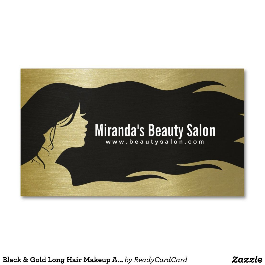 Black & Gold Long Hair Makeup Artist Hair Stylist. Business Card ...