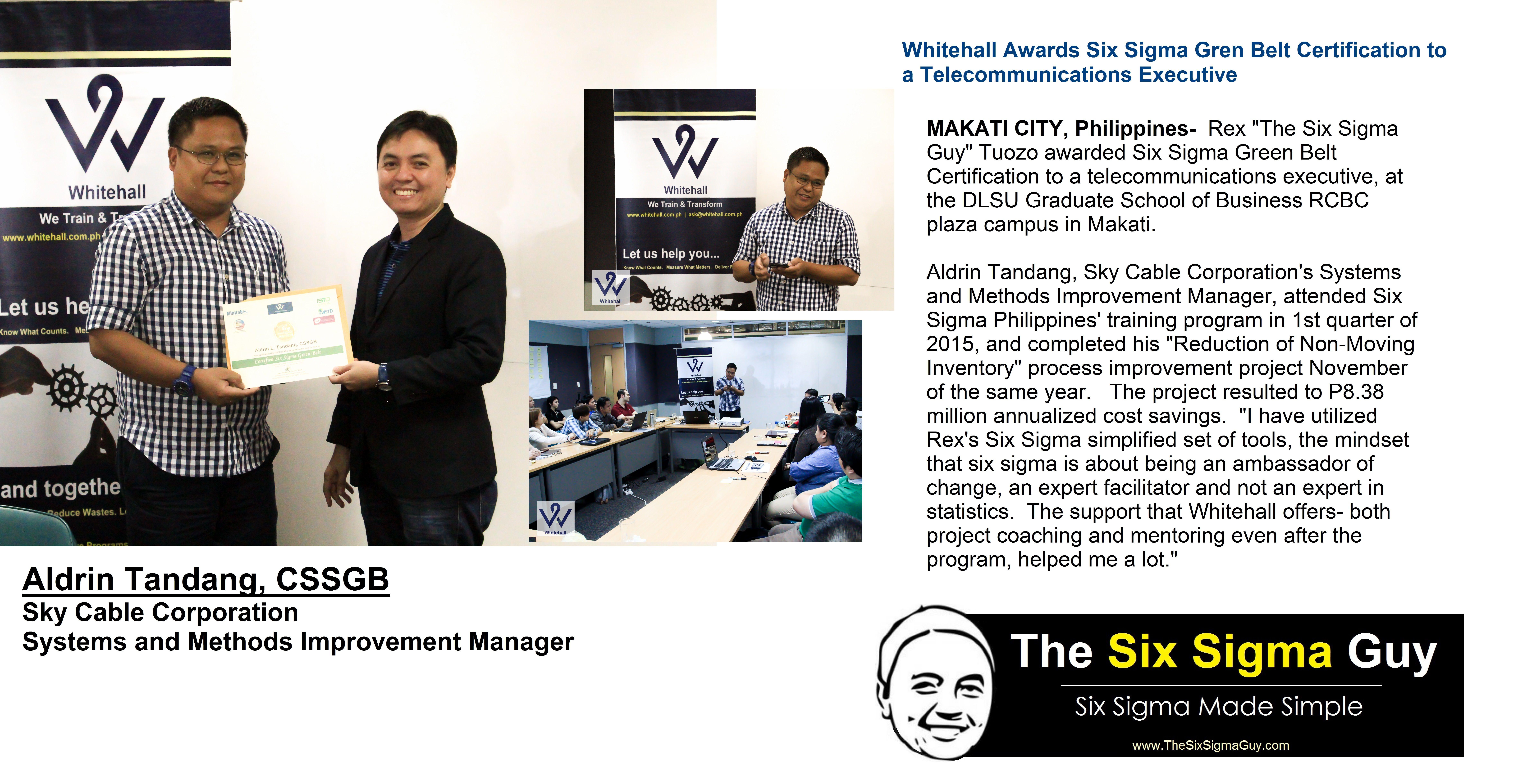 Makati City Philippines Rex The Six Sigma Guy Tuozo Awarded Six