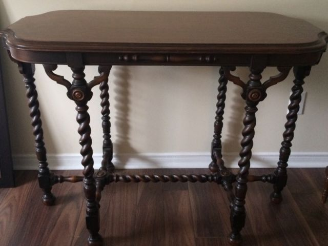 one of a kind carved wooden antique table from non smoking home d