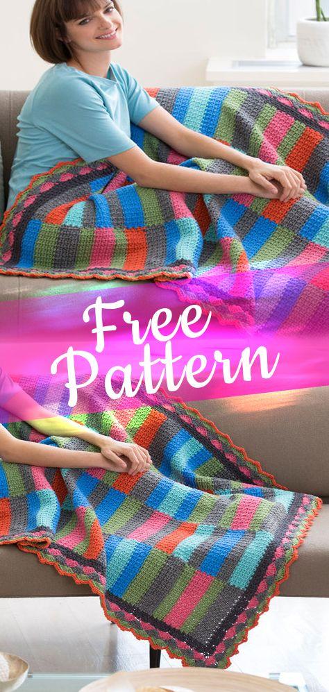 Bars & Strips Throw | Scrap yarn crochet project s | Pinterest ...